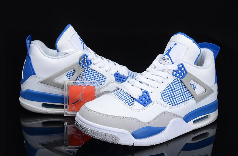 8cf845d72b8f Cheap Authentic Womens Air Jordan 4 Retro White Blue Grey Shoes