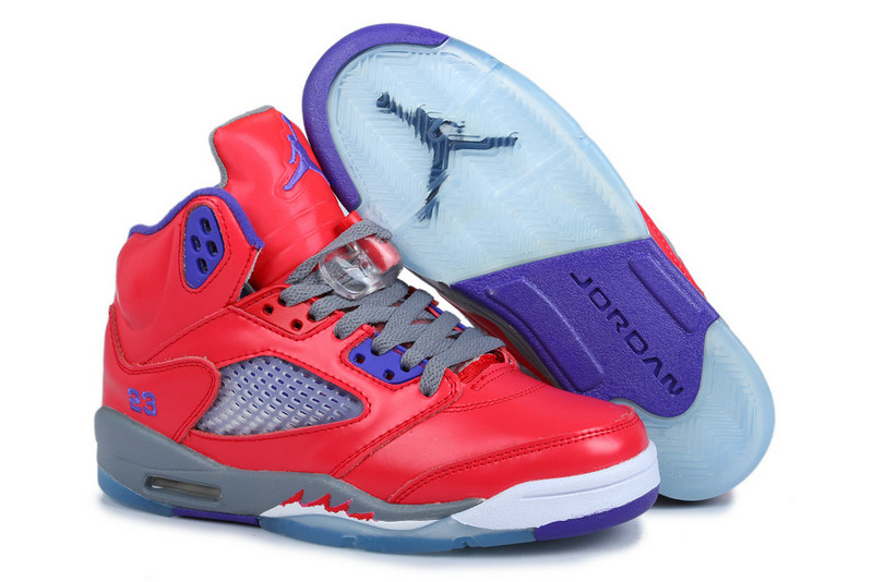 best authentic b4e4b 33559 Comfortable Womens Air Jordan 5 Pink Purple Grey Shoes On ...