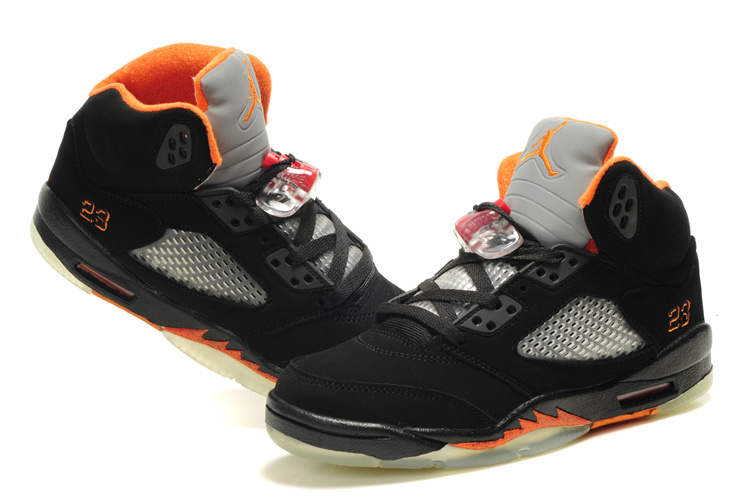 2f78ab531f37 Comfortable Womens Air Jordan 5 Retro Black Orange Shoes On Hot Sale