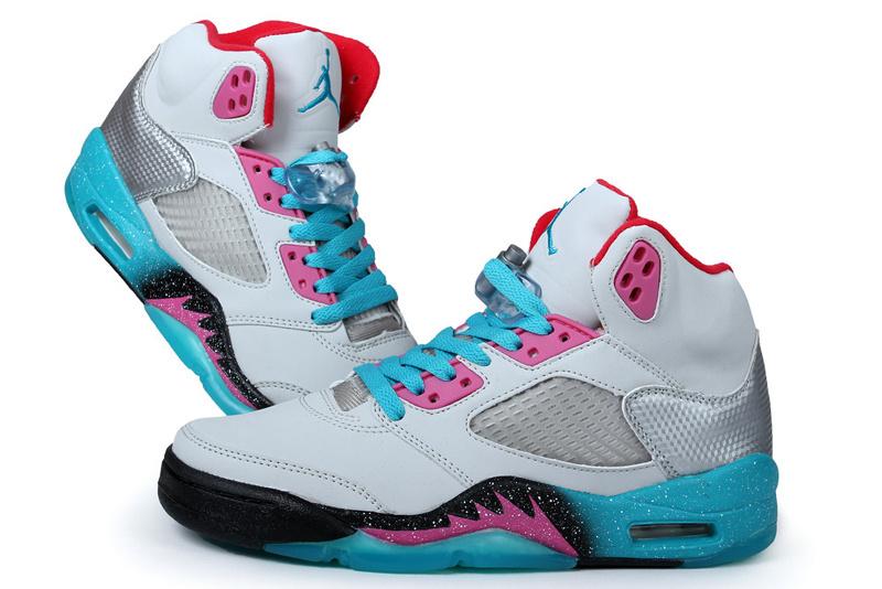 pretty nice 4c2ba c0ff8 Womens Air Jordan 5 Retro Miami White Blue Pink Black Shoes ...