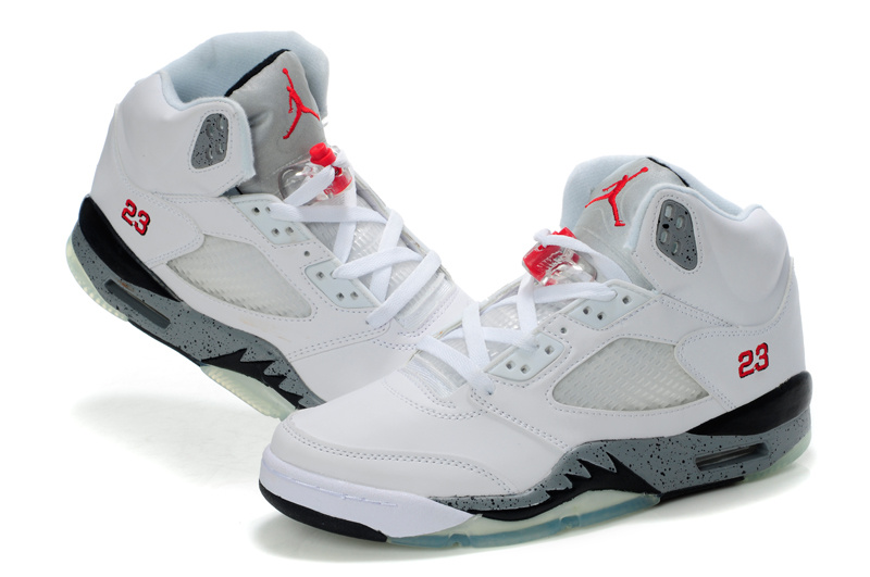 19ca29edff40be Womens Air Jordan 5 Retro White Black Grey Red Shoes Wholesale Price