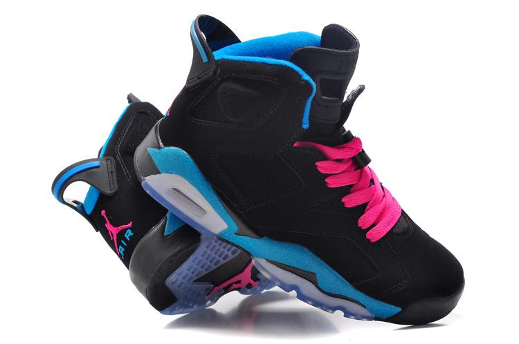 a73b936e8b78f1 Cheap Womens Air Jordan 6 Retro Black Blue Pink Shoes with Brand Quality