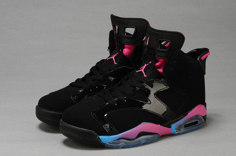 881bf636072de0 Discount Womens Air Jordan 6 Retro Black Pink Blue Shoes Online