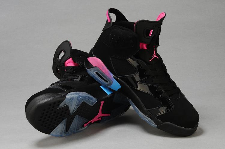 purchase cheap 7e372 fa25a Womens Air Jordan 6 Retro Black Pink Blue Shoes
