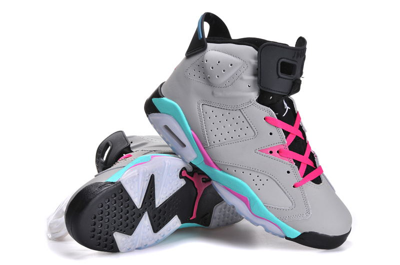 the latest 7d356 846ad Womens Air Jordan 6 Retro Grey Blue Pink Black Shoes