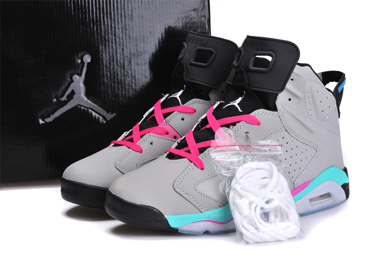 cheap for discount cf33b 90cea Discount Womens Air Jordan 6 Retro Grey Blue Pink Black Shoes Online