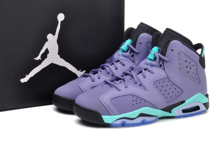 sports shoes c0e72 aedb8 Womens Air Jordan 6 Retro Light Purple Green Black Shoes