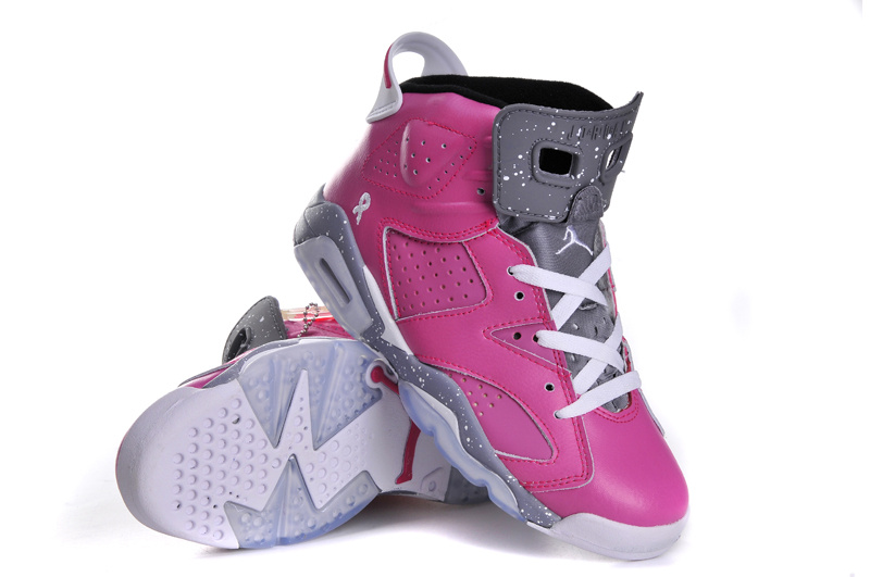 best website 8608c d3710 Womens Air Jordan 6 Retro Pink Grey White Shoes