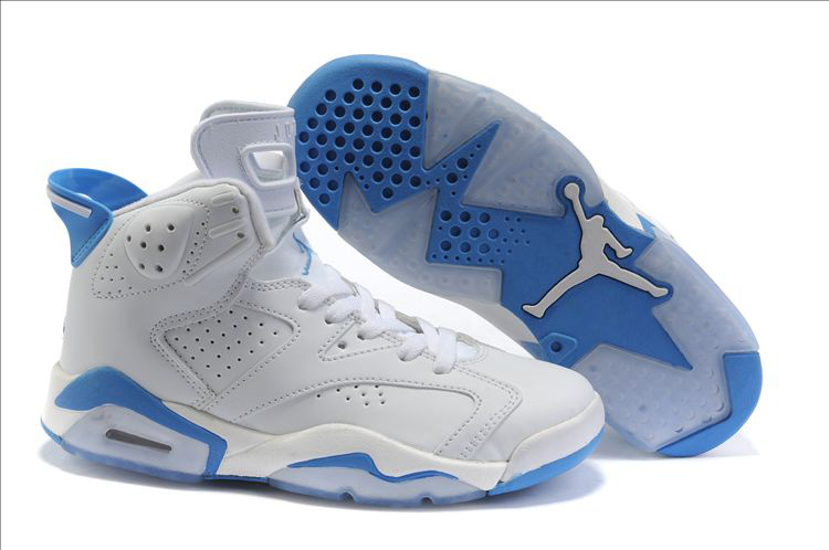 Womens Air Jordan 6 Retro White Blue Shoes Low Price Sale 22a51c5ca5