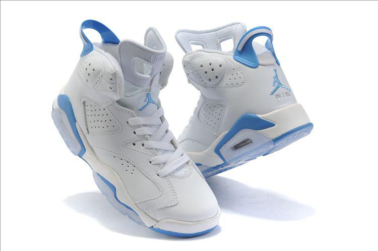Womens Air Jordan 6 Retro White Blue Shoes Low Price Sale 2e222c4cf