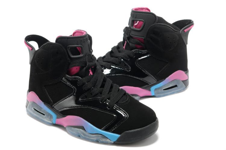 online store 1fcd6 80b86 Womens Air Jordan 6 Suede Black Purple Blue Shoes