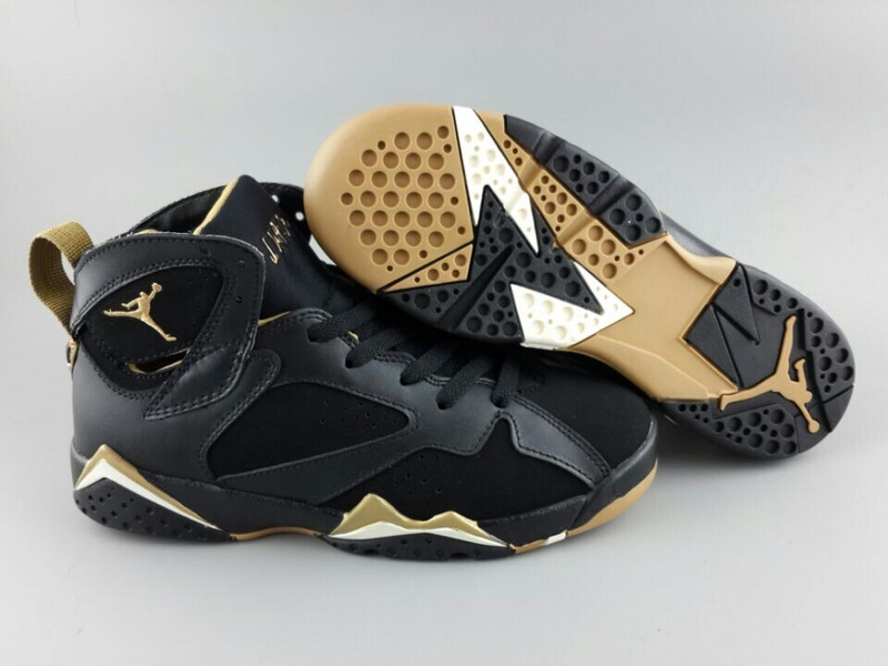 Womens Air Jordan 7 Retro Black Gold Shoes