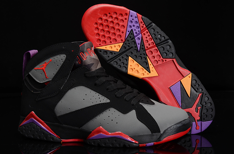 5b2eae7e1bbc Authentic Womens Air Jordan 7 Retro Black Grey Red Purple Shoes ...