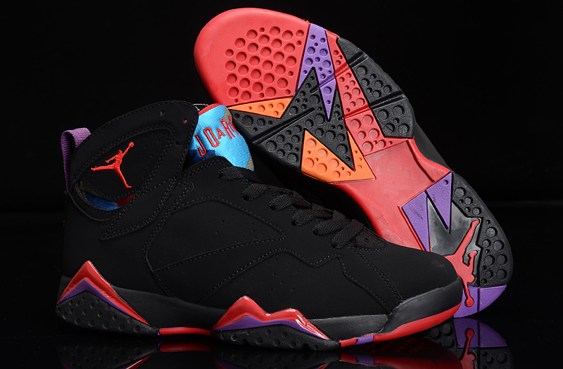 Authentic Womens Air Jordan 7 Retro Black Red Purple Shoes