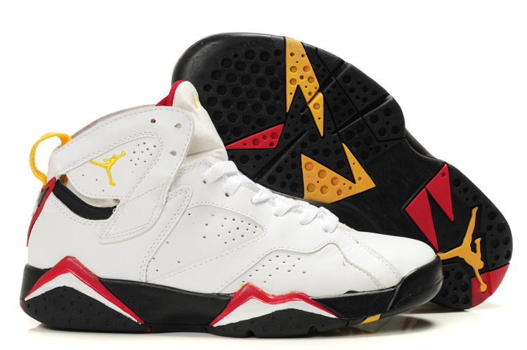 Womens Air Jordan 7 Retro White Black Red Yellow Shoes