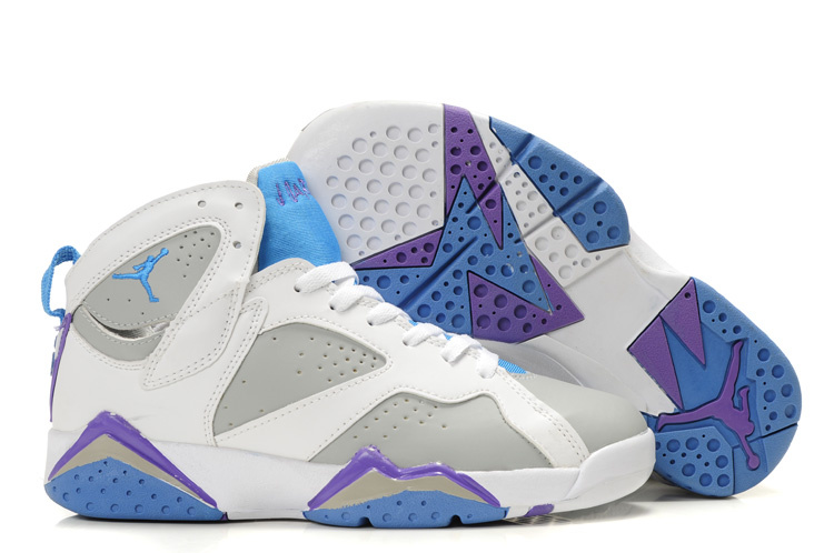Womens Air Jordan 7 Retro White Grey Baby Blue Purple Shoes