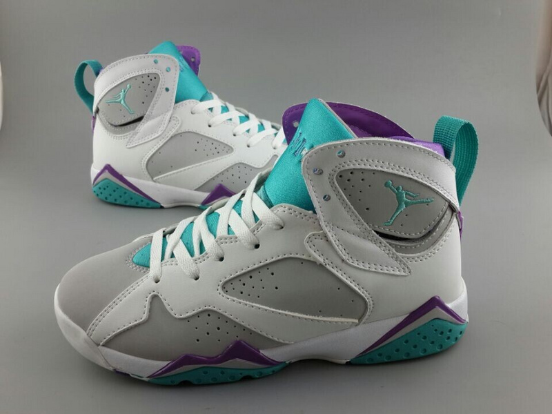 Womens Air Jordan 7 Retro White Grey Blue Purple Shoes