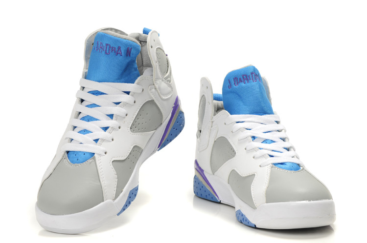Womens Air Jordan 7 White Grey Light Blue Purple Shoes