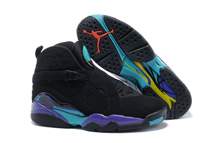 Womens Air Jordan 8 Black Purple Blue Shoes
