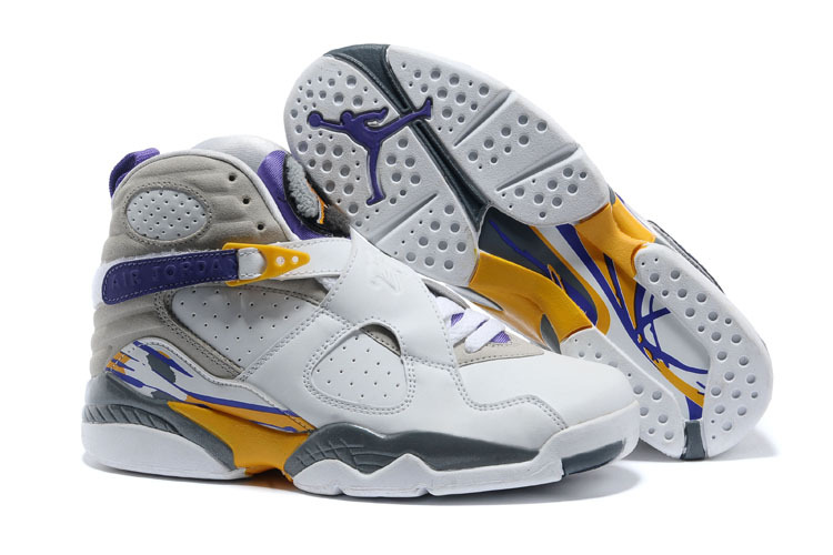Womens Air Jordan 8 White Grey Purple Yellow Shoes