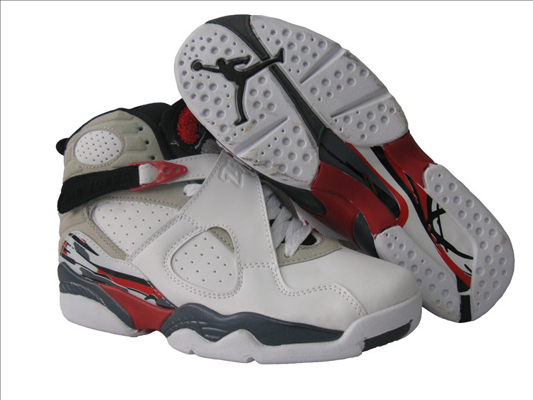 Womens Air Jordan 8 White Grey Red Shoes