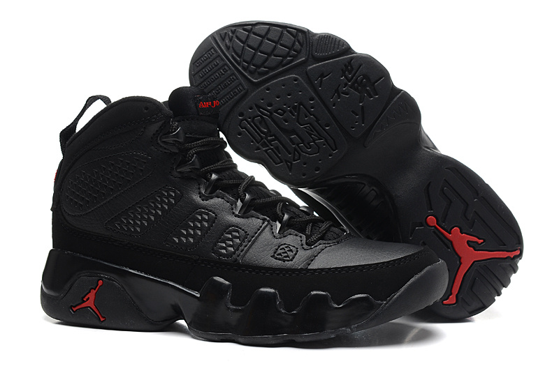 Womens Air Jordan 9 Retro All Black Red Jumpman Shoes