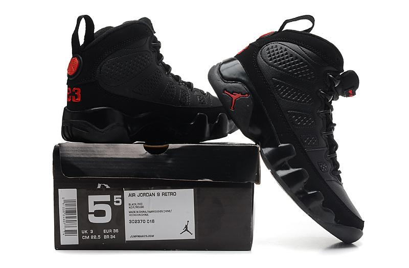 Online Womens Air Jordan 9 Retro All Black Red Jumpman Shoes Cheap Sale e97943f77