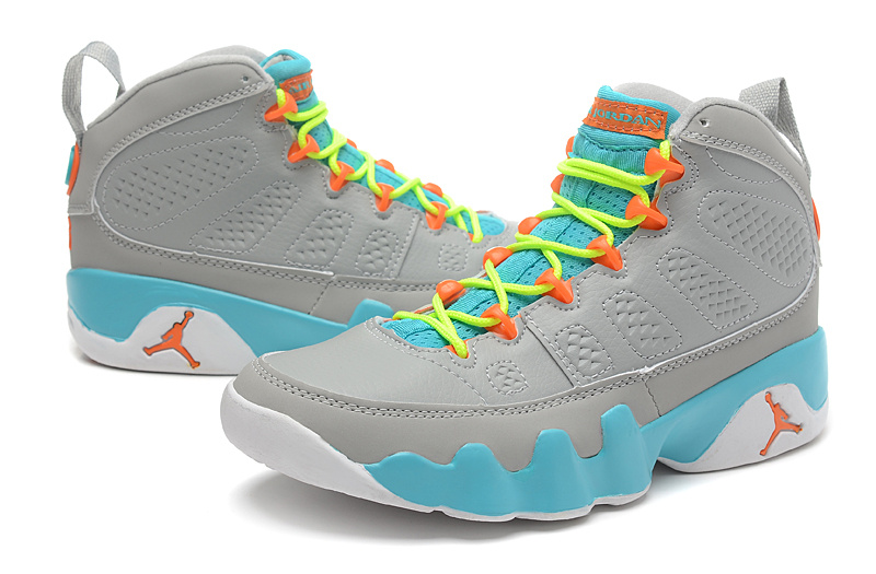 more photos 1ef37 43fb8 Womens Air Jordan 9 Retro Grey Blue Yellow Orange Shoes