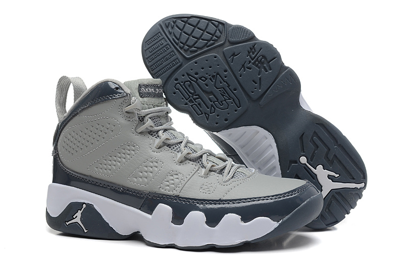 Womens Air Jordan 9 Retro Grey Deep Blue Shoes