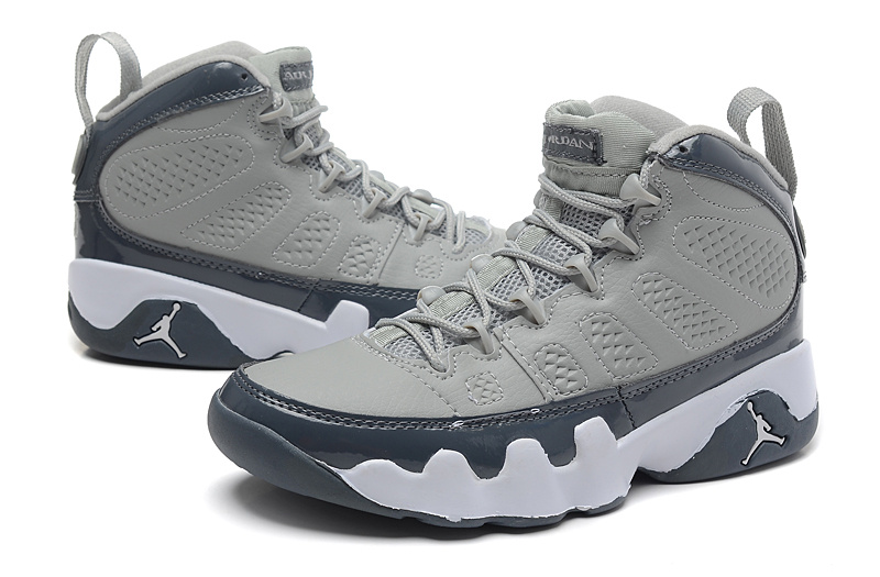 womens Air jordan 9 Buy Authentic Womens Air Jordan 9 Retro Grey Deep Blue Shoes