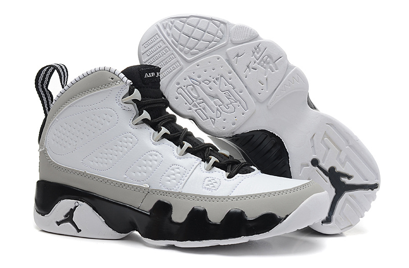 Womens Air Jordan 9 Retro White Grey Black Shoes