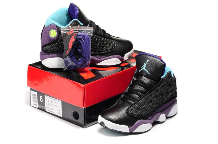 new products dd476 fb29c Womens Ar Jordan 13 Retro Black Purple Shoes