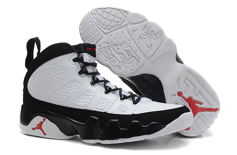 Womens Classic Air Jordan 9 White Black Red Shoes
