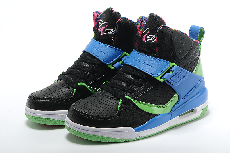 Womens Jordan Flight 4.5 Black Blue Green Shoes