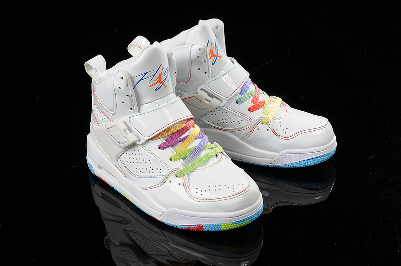 Womens Jordan Flight 4.5 White Colorful Shoes