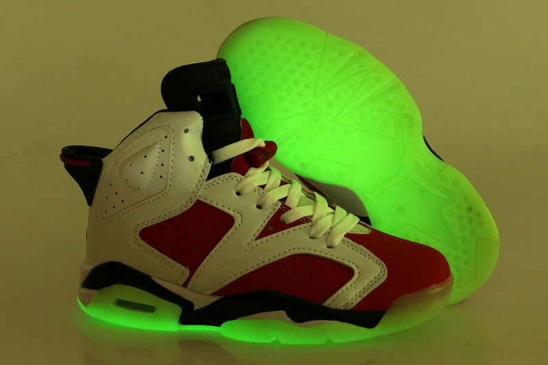 Womens Midnight Air Jordan 6 Carmine Red White Black Shoes