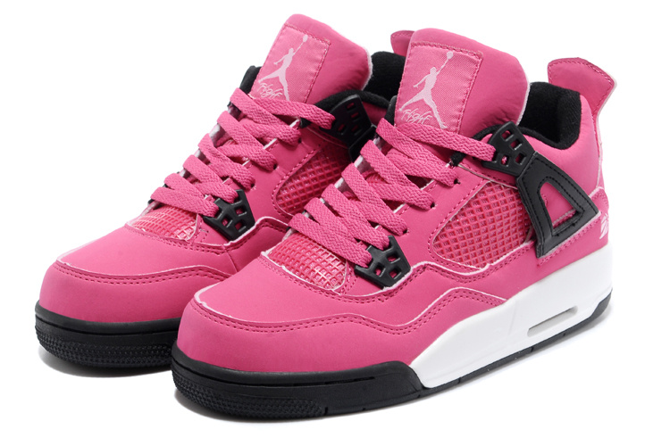 Womens New Air Jordan 4 Retro Pink Black Shoes